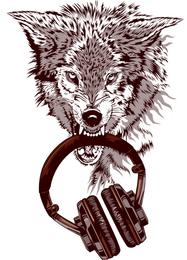 Дизайнерская футболка волк с наушниками