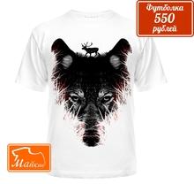 Дизайнерская футболка волк с оленем на голове